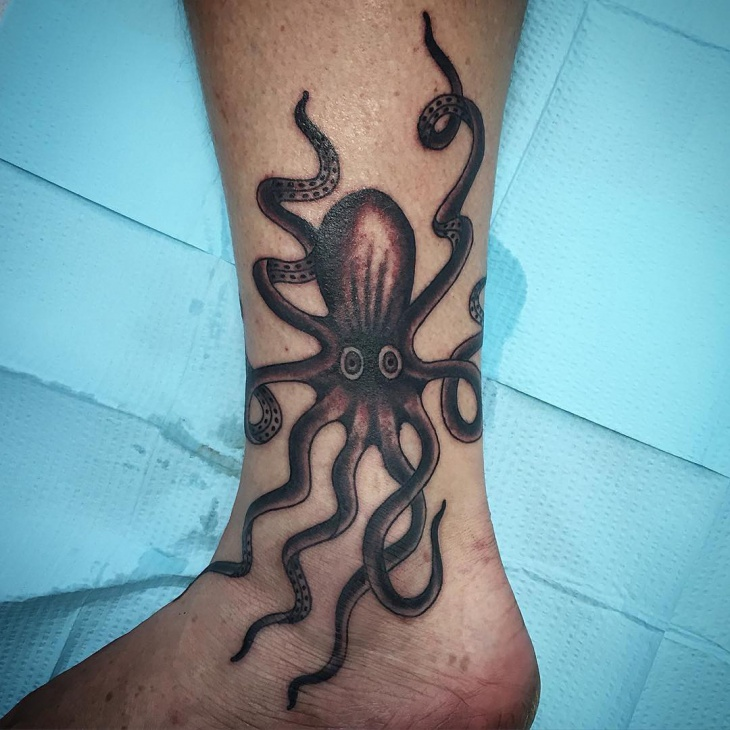 Squid Ankle Tattoo
