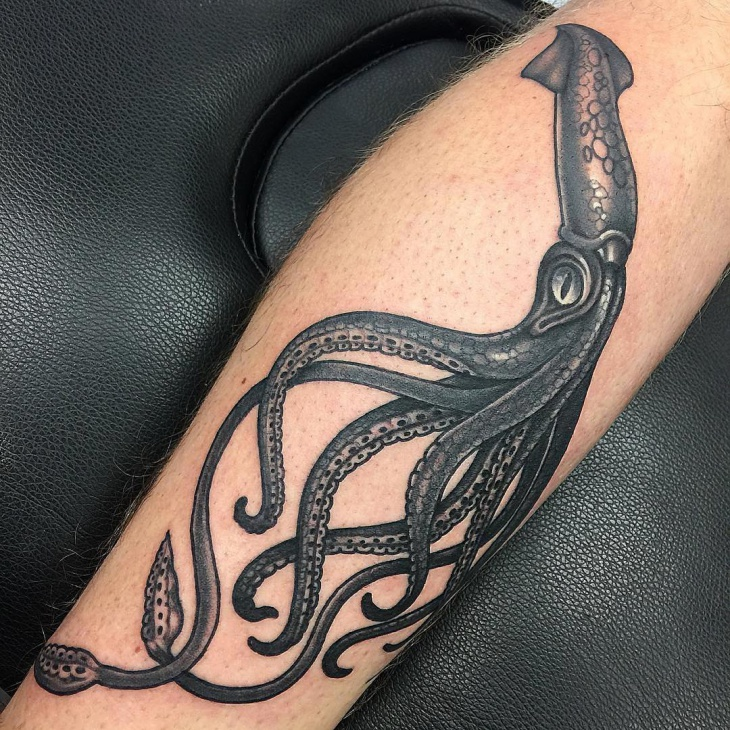 Black Squid Tattoo Design