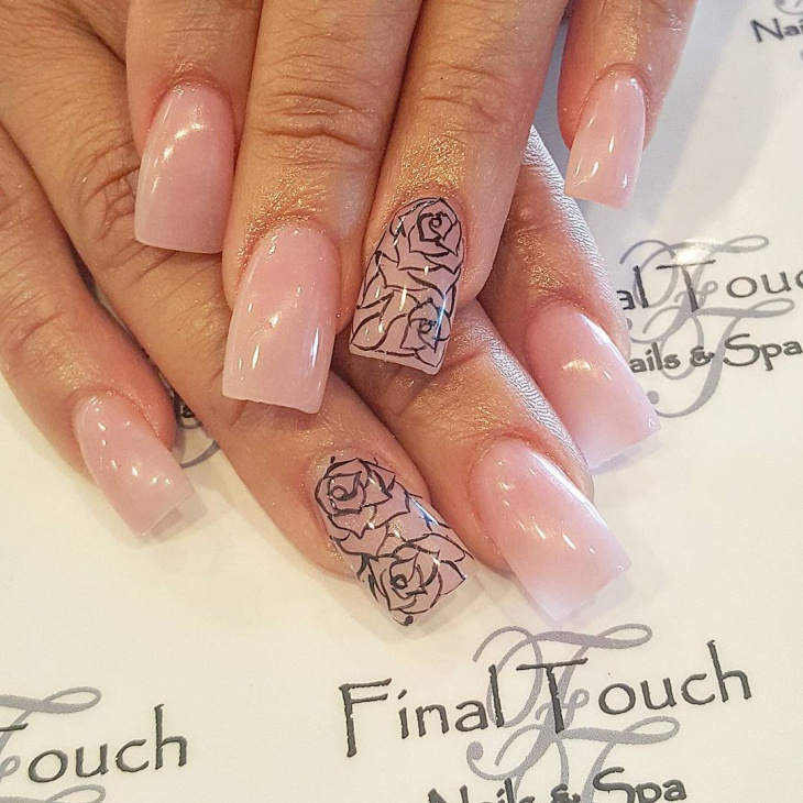 Swirl Rose Nail Manicure