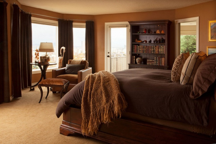 Rich Brown Monochromatic Bedroom