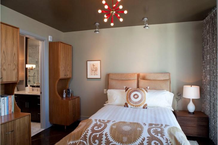 Beautiful Chandelier Monochromatic Bedroom