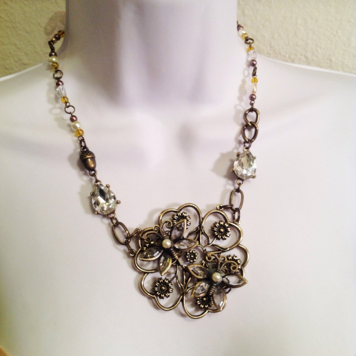 Eclectic Butterfly and Flower Necklace