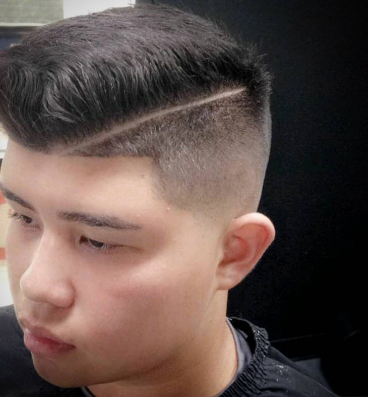 bald low fade comb over