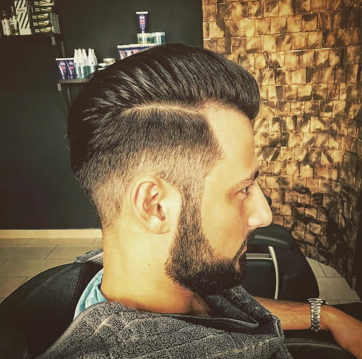Low Fade Comb Over With Beard