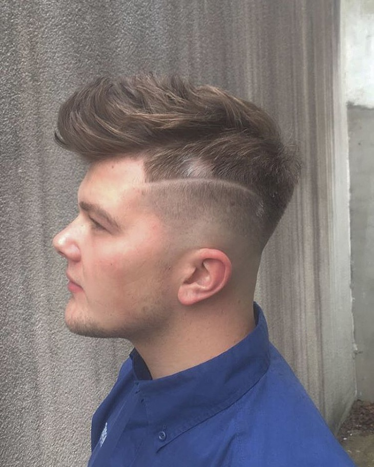 low fade slicked comb over