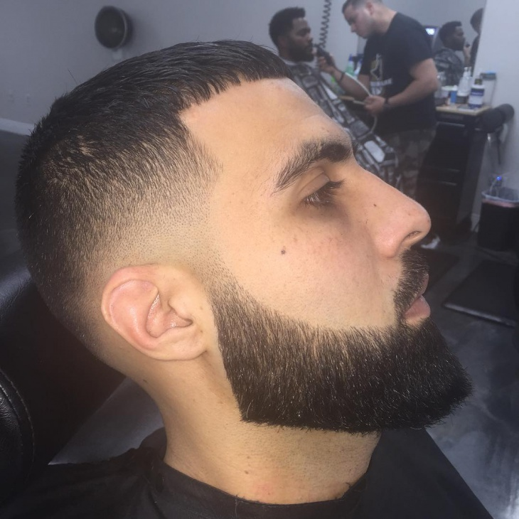 Caeser Low Fade Comb Over Hair with Beard