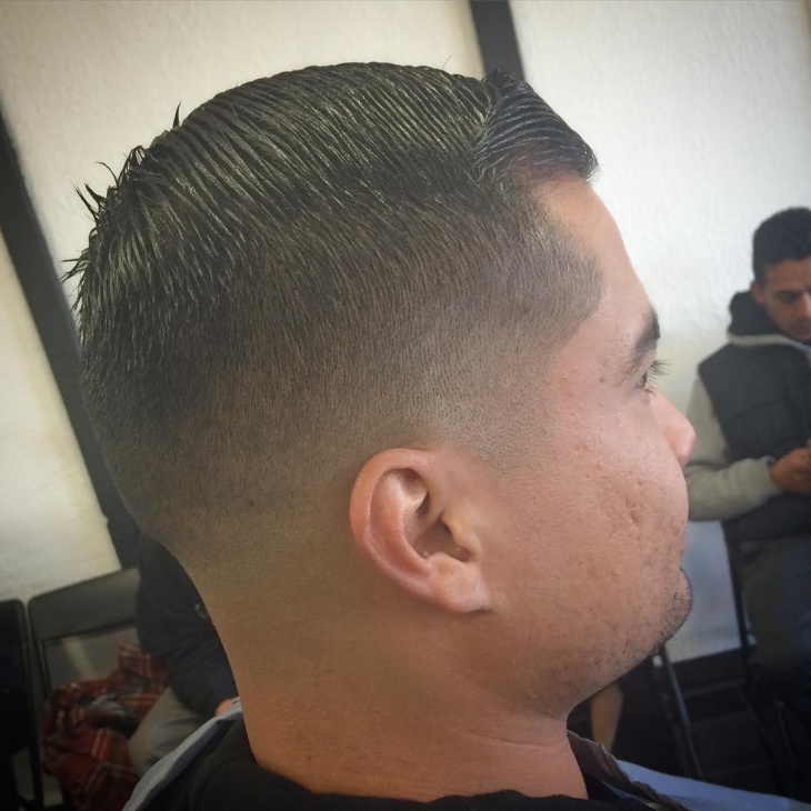 Low Fade Comb Over Short Hair