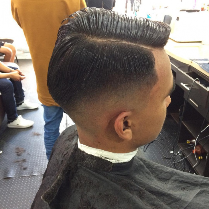 side stacked low fade hair