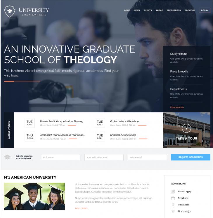 Clean & Unique University Education WP Template
