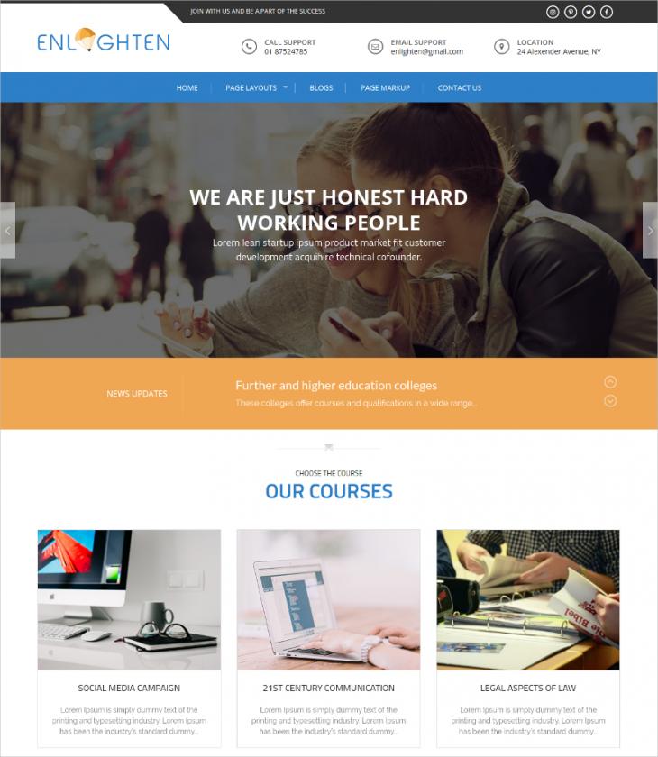 Two menu Style Education WordPress Theme