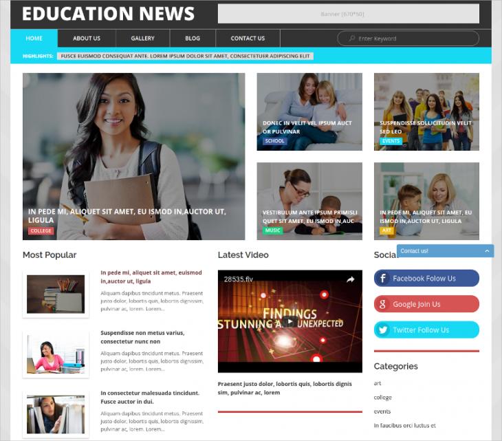 Fully Editable WordPress Education Template