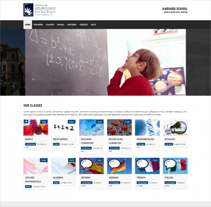 easy use education wordpress template