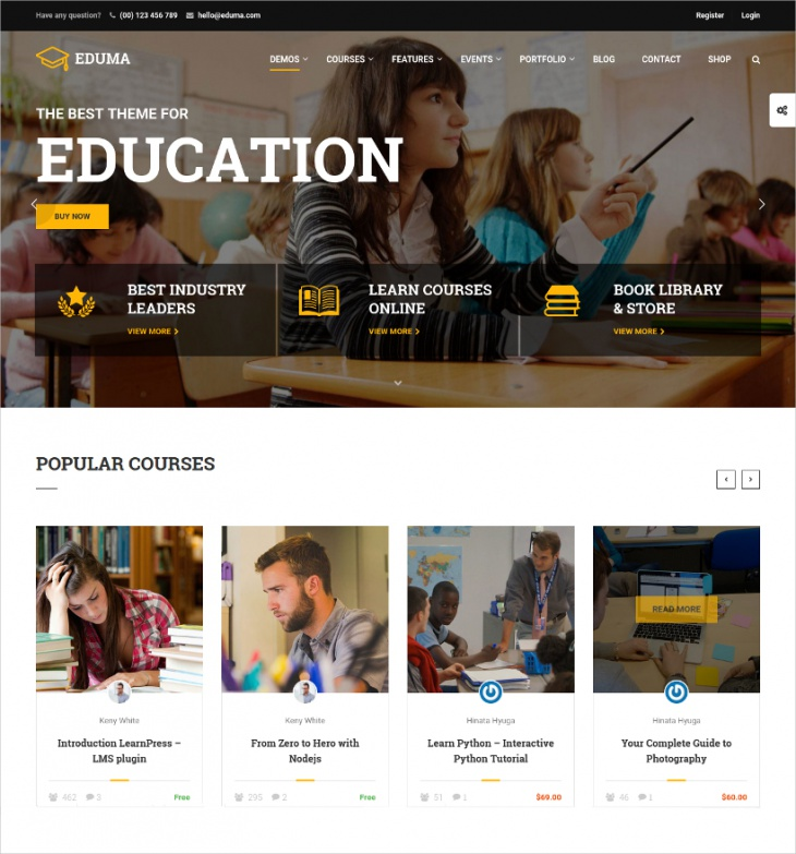 Retina Ready Education WordPress Theme