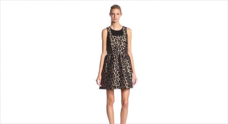 jacquard animal print dress