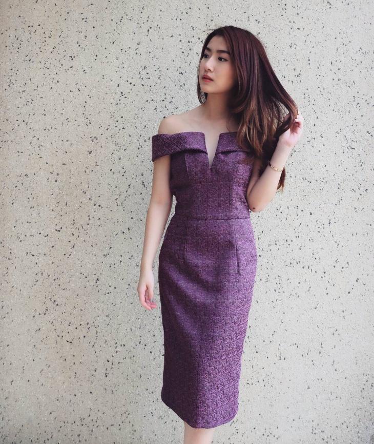 off shoulder jacquard dress