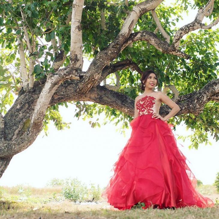 red jacquard dress for bridal