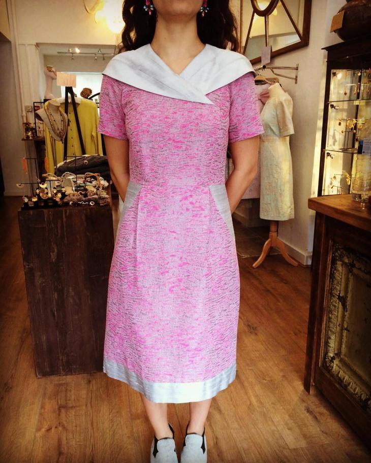pink jacquard collar dress