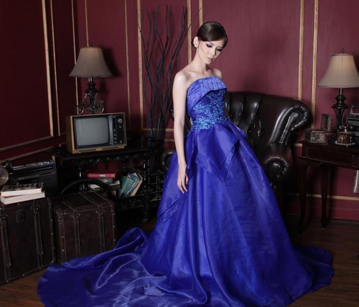floor length jacquard dress