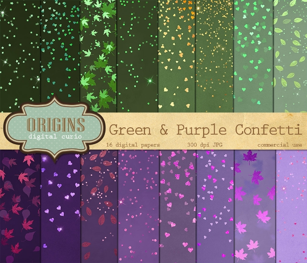 Green and Purple Seamless Confetti Texture