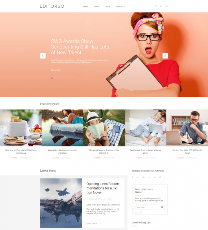 classic personal journalist blog wordpress theme