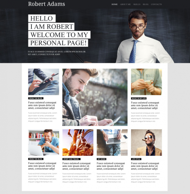 perfect personal blog page wordpress theme