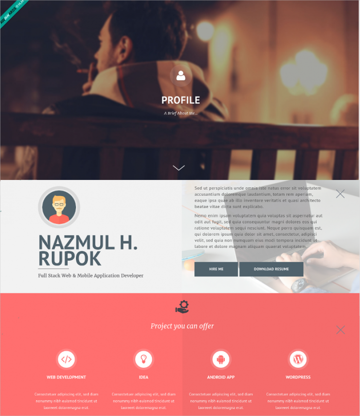 Bootstrap Personal WordPress Template