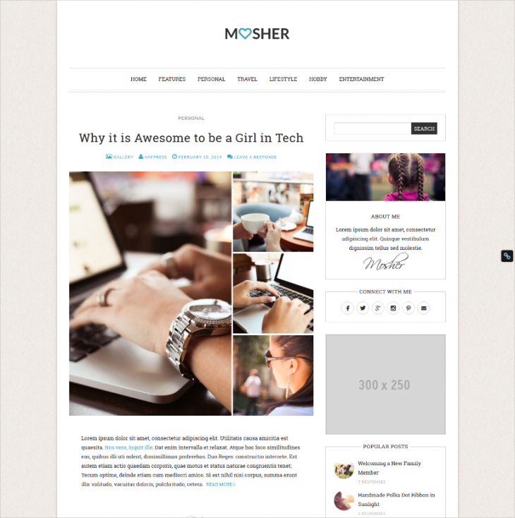 customizable personal blog wordpress theme