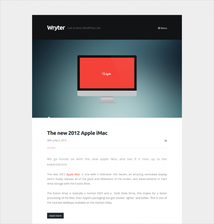 Simple Personal Blog WordPress Theme