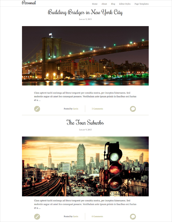 mobile friendly personal wordpress theme