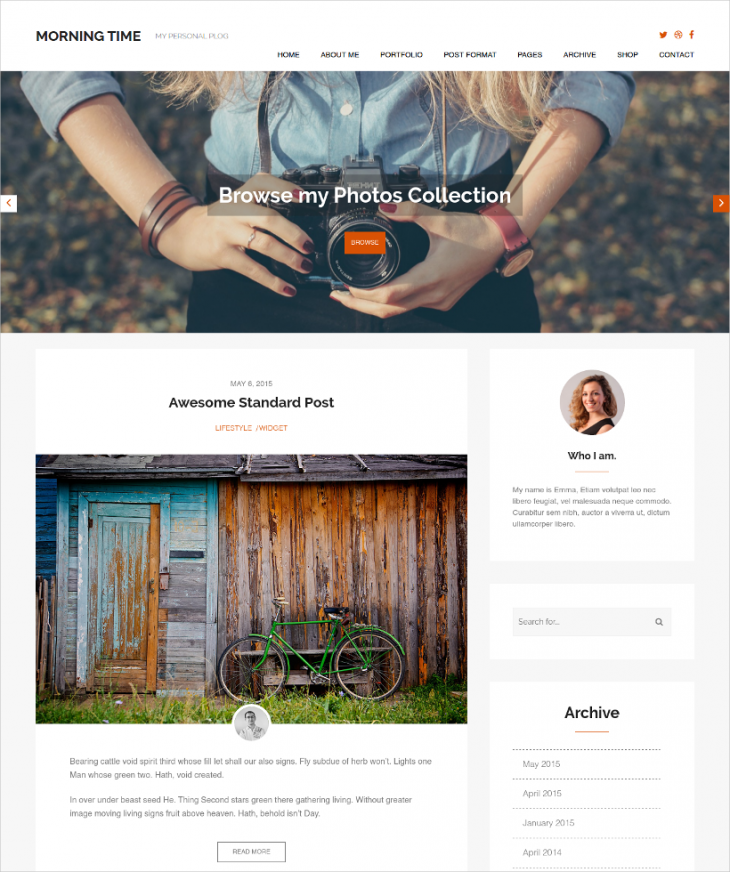 excellent personal blog wordpress theme