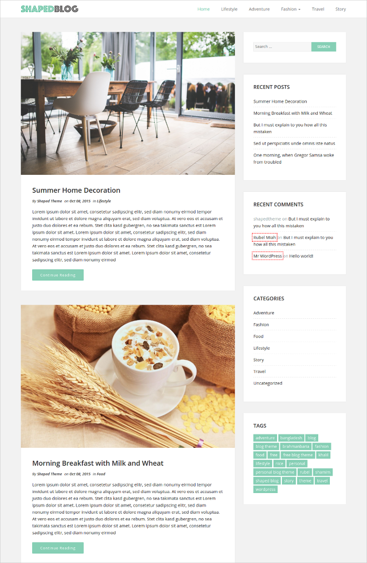 easy personal wordpress blog template