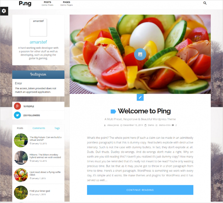 one click demo personal wordpress blog template
