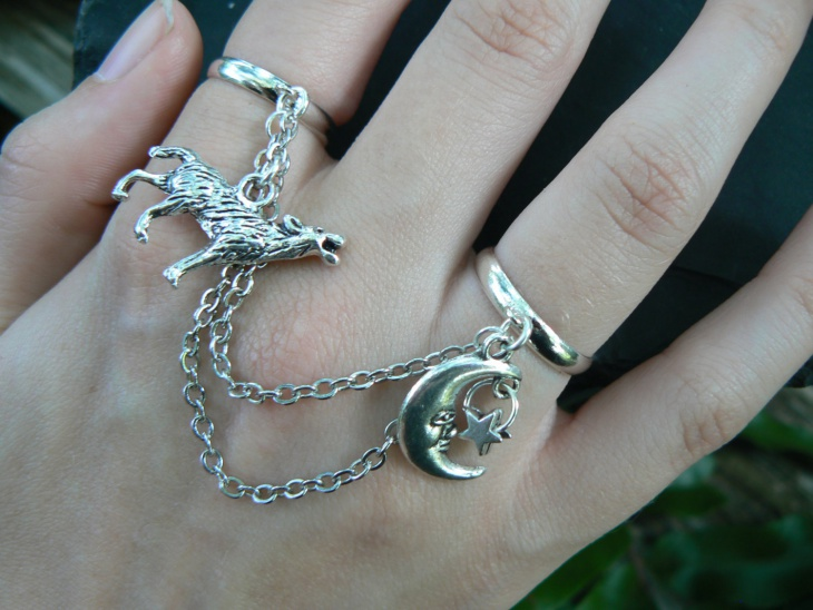 Wolf Ring Moon Ring