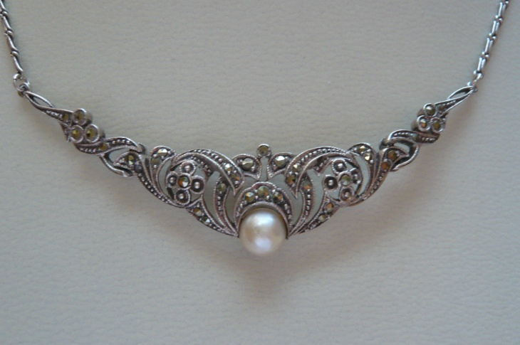 pearl and marcasite necklace