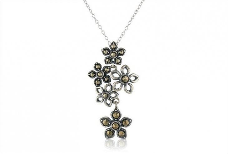 marcasite flower pendant design