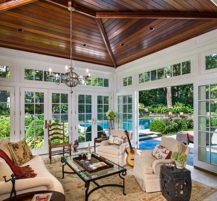 traditional sunroom standard ceiling