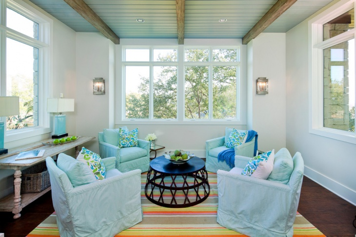 Sunroom With Blue Ceiling