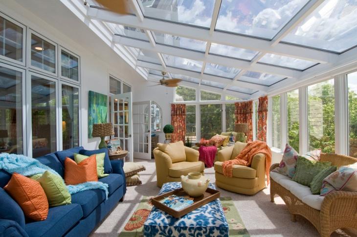 Furnished Sunroom Glass Ceiling Idea