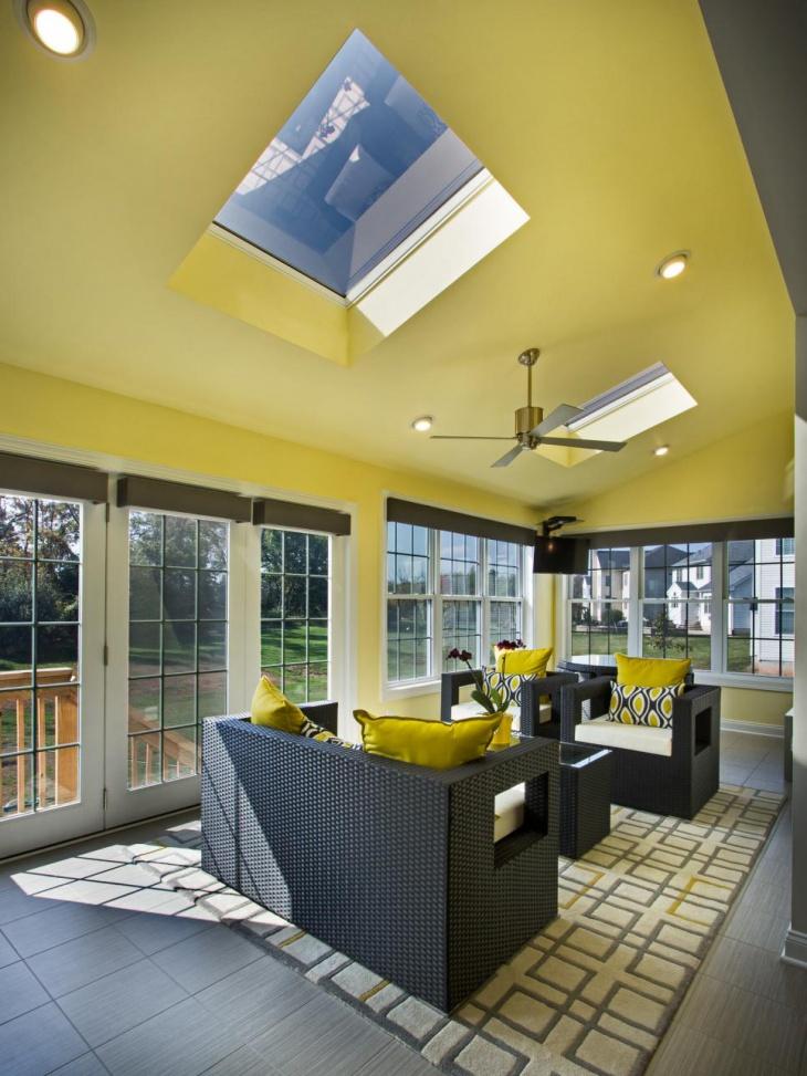 Yellow Sunroom Ceiling Design