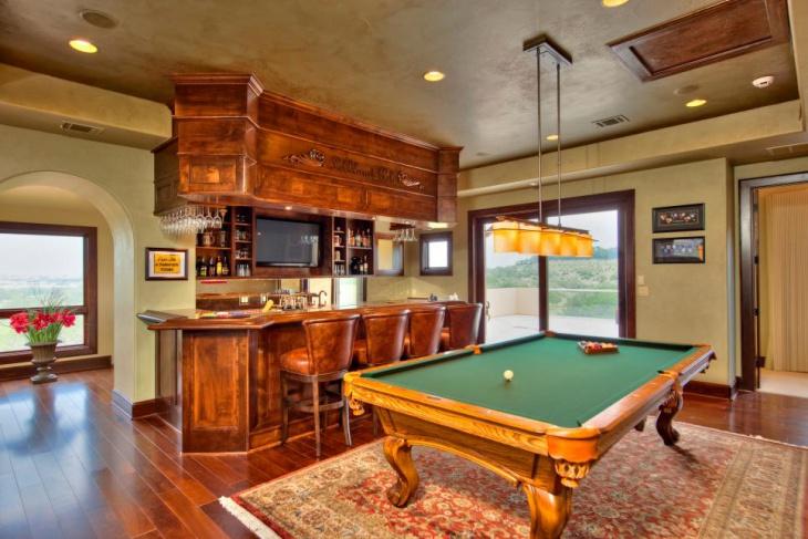 hardwood small bar with pool game