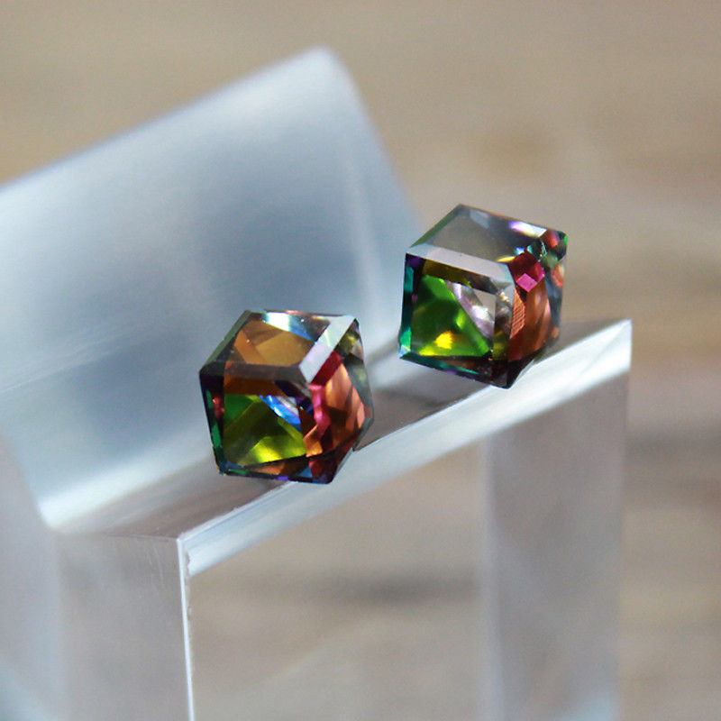 crystal cube earrings design