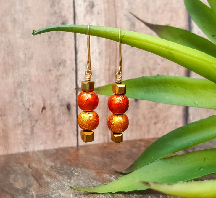 cube bead earrings