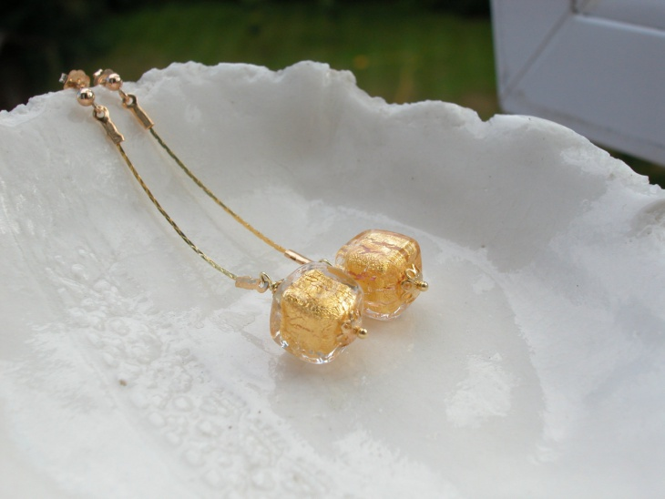 long gold cube earrings