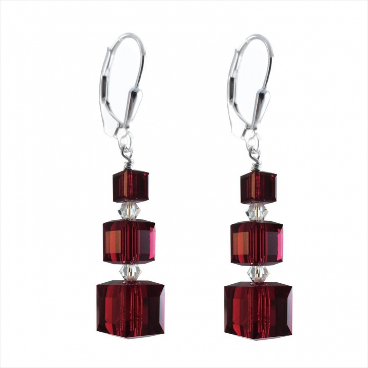 deep red cube earrings