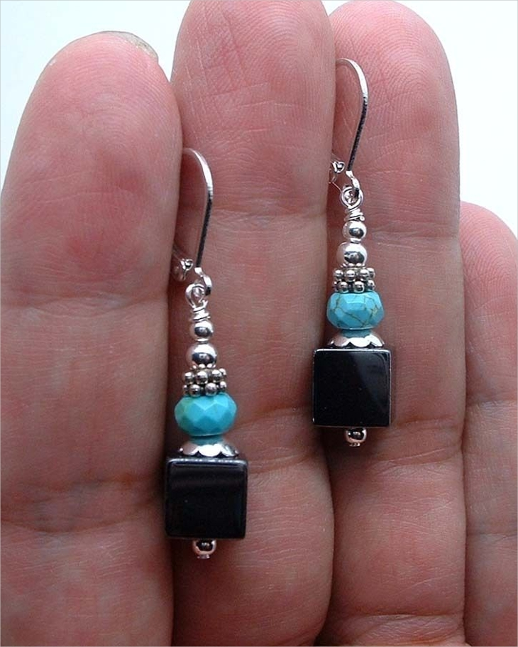dainty black cube earrings