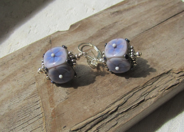 lavender cube earrings