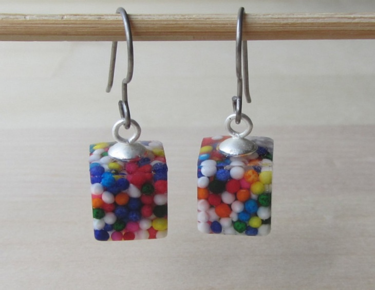 candy sprinkles cube earrings