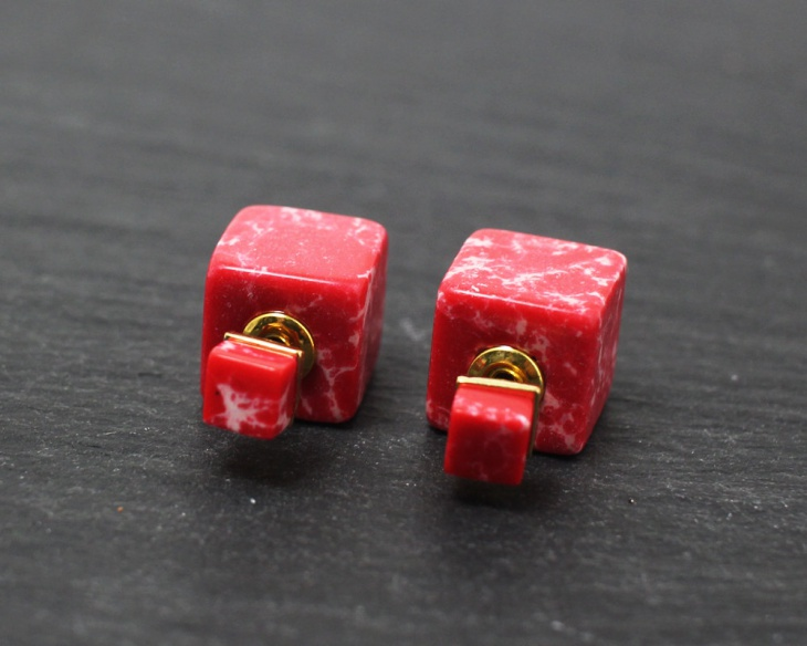 red marble cube earrings