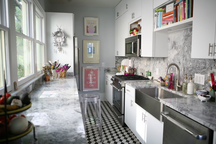 Modern One Wall Gray Kitchen