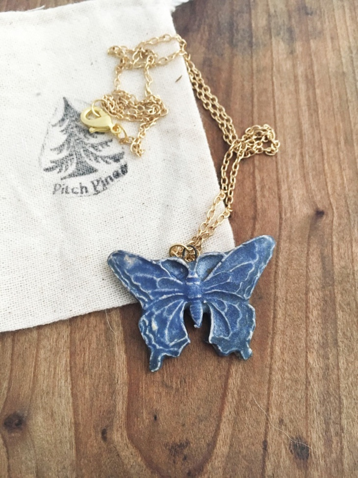 Blue Butterfly Necklace Design